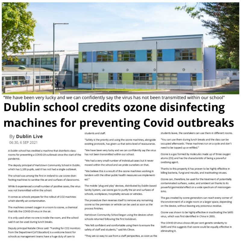 Schools Credit Ozone Disinfecting Machines For Preventing Covid Outbreaks